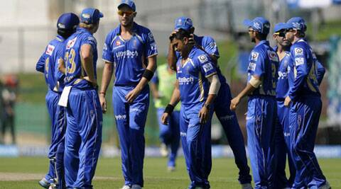 Rajasthan Royals leggie Pravin Tambe (centre) was adjudged man of the match for his clinical spell of 4/20. (BCCI/IPL)