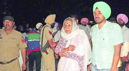 Congress leader Ambika Soni at the spot near Jagatpura colony, Mohali, on Tuesday.  (Express)