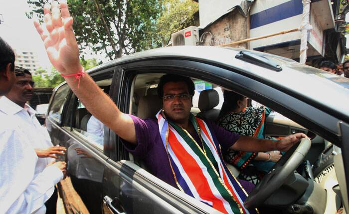 MNS candidate Aditya Shirodkar during campaign on the last day at Chembur on Tuesday. Express photo by Prashant Nadkar.