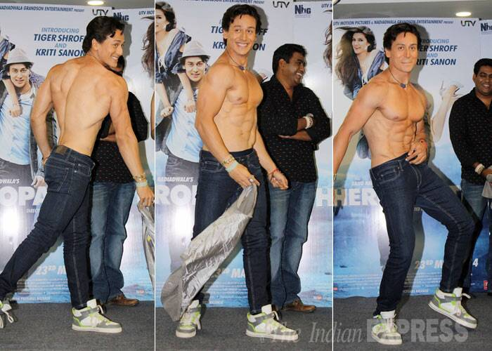 Every newcomer aspires to have a body like Salman Khan and Tiger Shroff indeed has one. He was seen aping the 'Dabangg' actor by going shirtless during the promotions of his debut movie 'Heropanti' in Mumbai on Monday (April 28). His shirtless dance moves reminds us of Salman Khan's famous song ' O O Jane Jaana' from 'Pyar Kiya Toh Darna Kya.'. (Photo: Varinder Chawla)