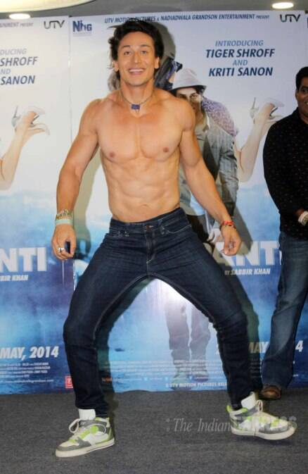 Tiger Shroff apes Salman Khan, goes shirtless to promote 'Heropanti'