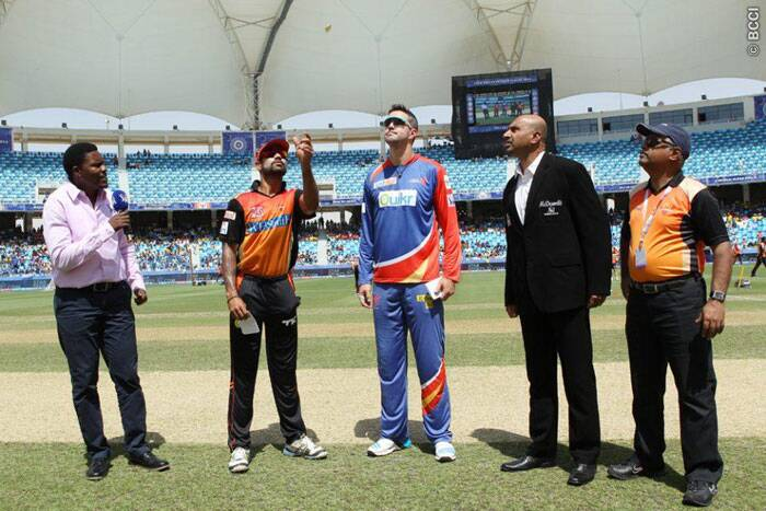 Sunrisers Hyderabad's skipper Shikhar Dhawan tosses the coin in their match against Delhi Daredevils in Dubai on Friday. He won the toss and decided to bat first. (Photo: BCCI/IPL)
