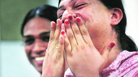 Transgenders in New Delhi celebrate after the apex court ruling on Tuesday.Renuka Puri