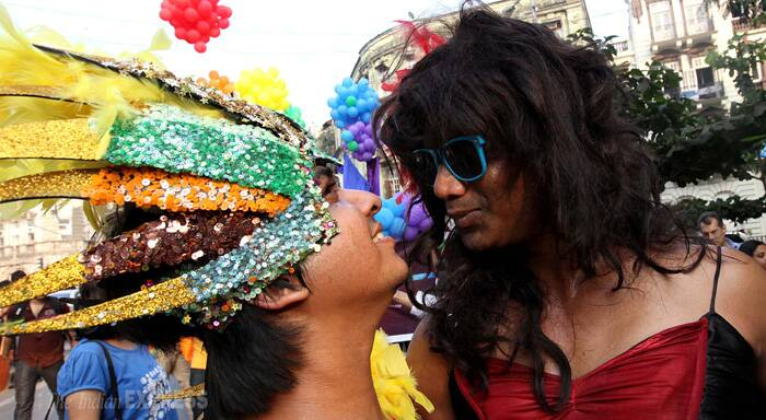 "Transgenders too have welcomed the Supreme Court judgement recognising transgenders as ""the third gender"". Talking to reporters Akuti Patel and Manvi Vaishnavi working for a Vadodara-based NGO called Lakshya which works for transgenders described it as a landmark judgement. (IE Photo: Pradeep Kochrekar)"