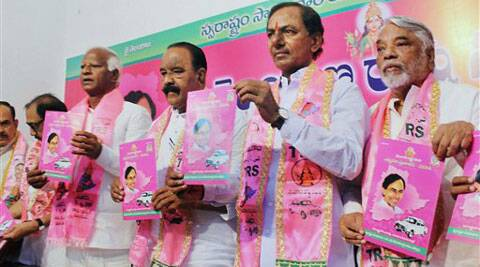 TRS President K Chandrashekar Rao with party leaders releasing candidates list along with party Manifesto in Hyderabad on Friday. (PTI)
