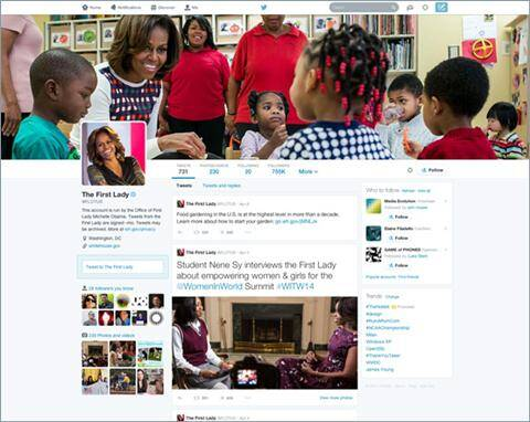 US First Lady Michelle Obama is among the first to get the new page