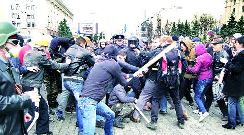 Protesters clash during rallies in Kharkiv. reuters.