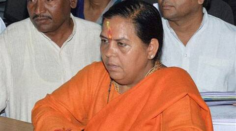 BJP leader Uma Bharti filing her nomination papers in Jhansi on Friday. (PTI)