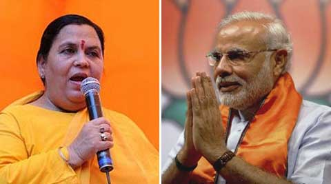 "At the time of filing his nomination papers from Varanasi, Modi had said ""Mother Ganga has called me."" Bharati herself disclosed after the swearing in ceremony that she had been allotted these ministries. Source: Express Archive"