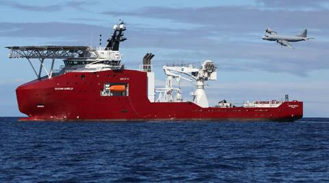 A ship involved in search operation of the missing plane. (AP)