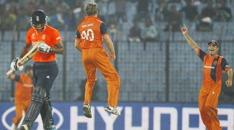 Van Beek was the pick of Dutch bowlers with figures of 3/9 (AP)
