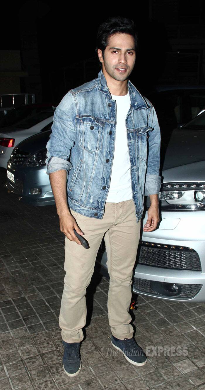 Lead actor Varun Dhawan wore a denim jacket over a white tee shirt and beige pants. The actor has been receiving much praise for his performance in the comedy. (Photo: Varinder Chawla)