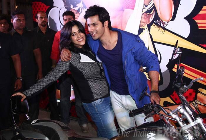 "Varun gets a hug from Ekta Kapoor. <br /><br /> Though the film is yet to hit screens, 'Main Tera Hero' is already garnering much praise. ""'Main Tera Hero' is a RIOT. David Dhawan at his best. Every body is superb. But the film belongs to @Varun_dvn . He is a bundle of talent.:),"" tweeted Anupam Kher. (Photo: Varinder Chawla)"