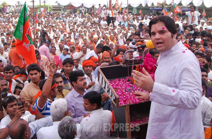 BJP General Secretary Varun Gandhi on April 15 filed his nomination papers from Sultanpur Lok Sabha seat, which is close to the Nehru-Gandhi bastions of Rae Bareli and Amethi, after holding a massive roadshow. (IE Photo: Vishal Srivastav)