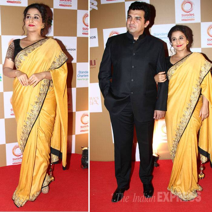 Vidya Balan was a ray of sunshine on the red carpet in a bright yellow Vikram Phadnis sari. She attended the charity event with husband Siddharth Roy Kapur. (Photo: Varinder Chawla)