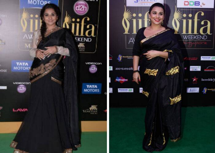 Bollywood beauty Vidya Balan went ethnic in 2013, wearing a black and gold lehenga by Anand Kabra with a beige long-sleeved blouse. In 2012, Vidya wore a sari by Masaba.