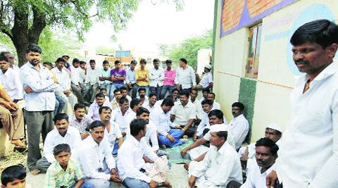 "Villagers at the spot in Masalwadi where Ajit Pawar held the ""casual meeting"" last Wednesday night and made the alleged remarks."