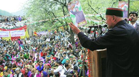 Virbhadra Singh at Jhanjeli in Mandi on Sunday. (Lalit Kumar)