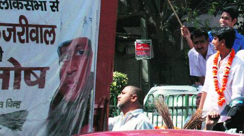 AAP leader Kumar Vishwas during a roadshow in Chandni Chowk on Saturday.