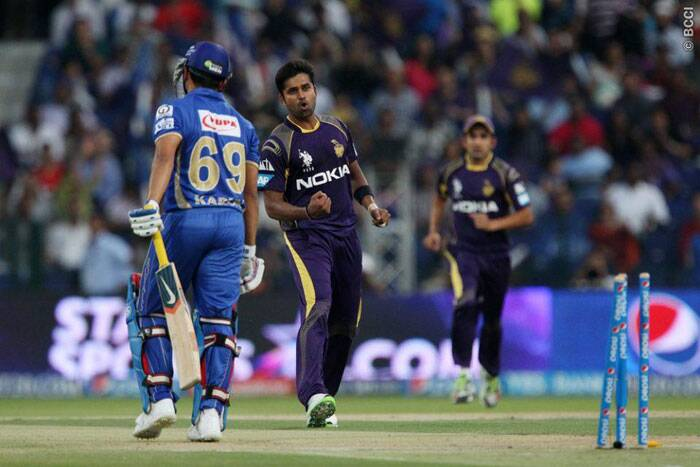 Kolkata's R Vinay Kumar celebrates after knocking over Karun Nair of Rajasthan in the third over. (Photo: BCCI/IPL)