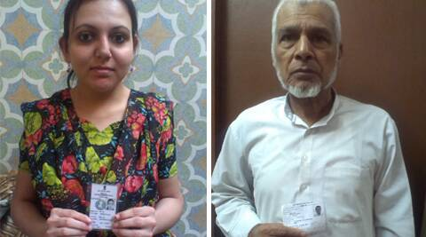 First time voter Ariba Shuaib (left) with her voting ID card; Senior citizen Abdur Rehman (right).