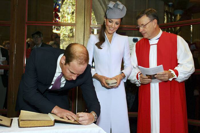 Now, Prince William signs the First Fleet Bible and Prayer Book. (AP)