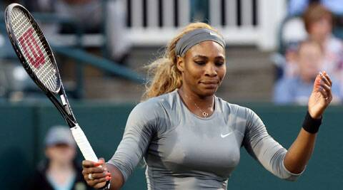 Serena Williams reacts during a loss to Jana Cepelova at the Family Circle cup tennis tournament in Charleston, S.C. (AP)