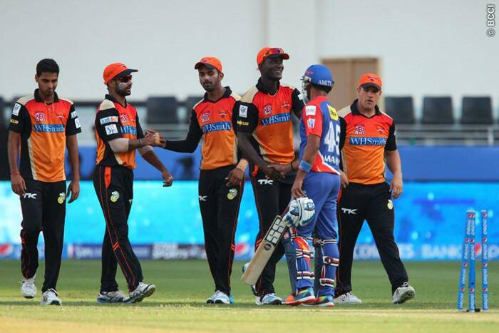 Players shake hands after Sunrisers Hyderabad defeated Delhi Daredevils by four runs in Dubai on Friday. (Photo: BCCI/IPL)