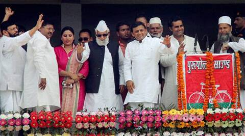 Chief minister of Uttar Pradesh Akhilesh Yadav along with party workers during an election campaign rally in Moradabad on Sunday. (PTI)