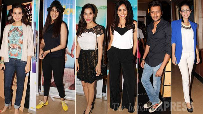Bollywood actress Sophie Choudry, Dia Mirza, Amrita Rao and Genelia D'Souza attended a special screening of actor-turned-producer Riteish Deshmukh's Marathi production – 'Yellow'. (Photo: Varinder Chawla)