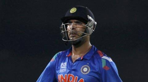 India's Yuvraj Singh leaves the field after being dismissed against Sri Lanka during their ICC World Twenty20 Final (AP)
