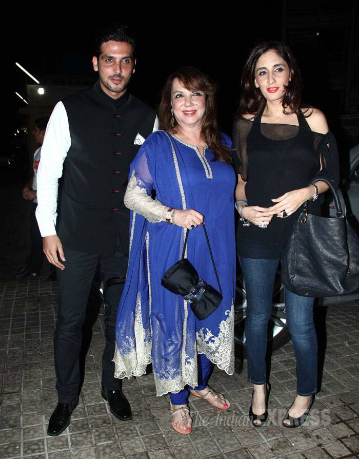Hrithik Roshan's in laws - brother-in-law Zayed Khan, sister-in-law Farah Ali Khan and mother-in-law Zarine were also seen. However, Sussanne was missing at the screening. (Photo: Varinder Chawla)
