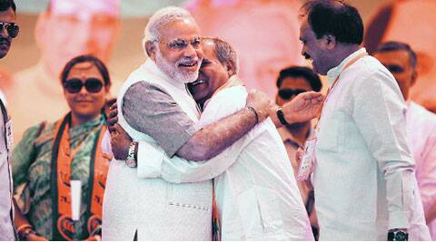 Modi and Tomar in Ghaziabad on Thursday.