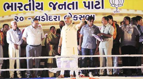 Narendra Modi at his first public address since his nomination, in Vadodara on Thursday. Bhupendra Rana
