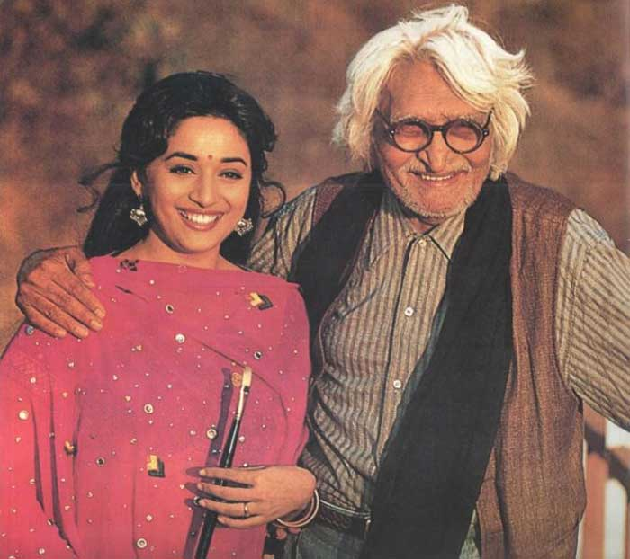 She has undoubtedly mesmerised millions of people around the world and one of them has been the famous painter M.F. Husain. Madhuri has been a muse for M.F. Husain. He was so fascinated by Madhuri in Hum Aapke Hain Koun..! that he watched the film 67 times, and in 2007 he booked an entire theatre to see her comeback movie Aaja Nachle. He made a series of paintings on her, and in 2000 made a film named Gaja Gamini which was intended as a tribute to Madhuri.