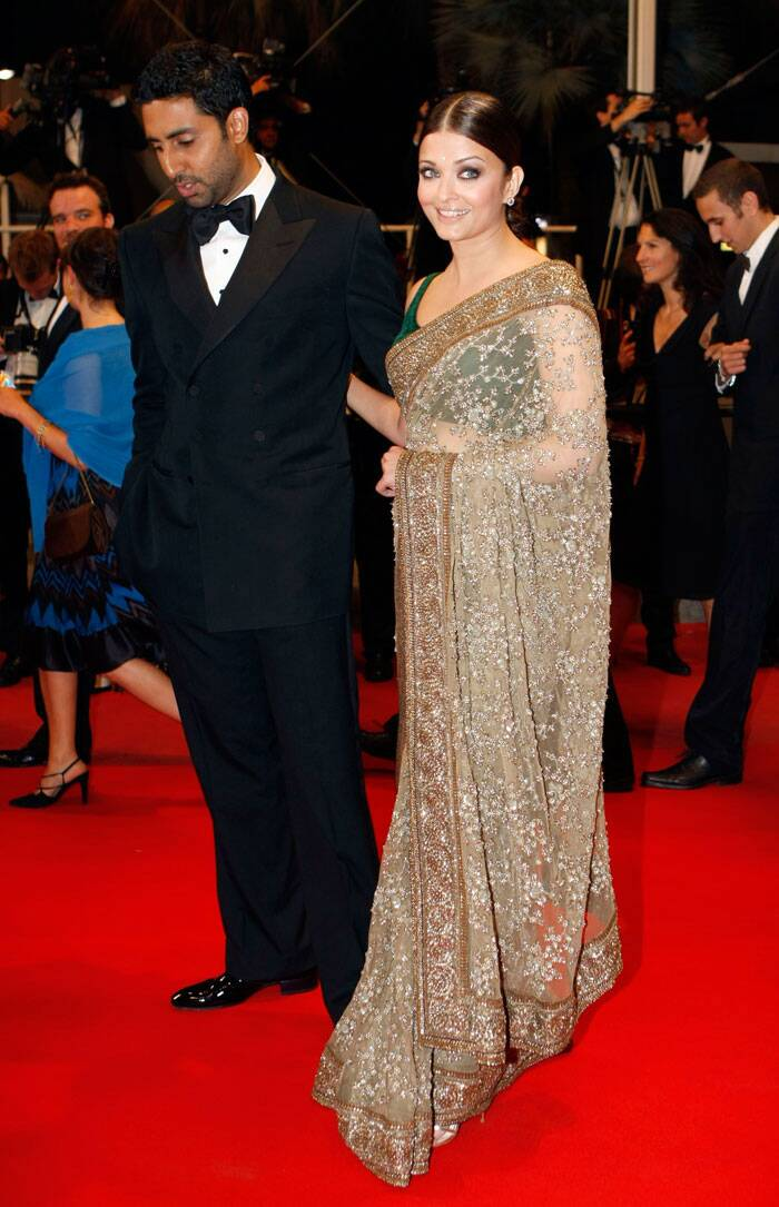 <b>Cannes 2010:</b> The same year, Aishwarya wore a sari to perfection. She was ravishing in a Sabyasachi sari.