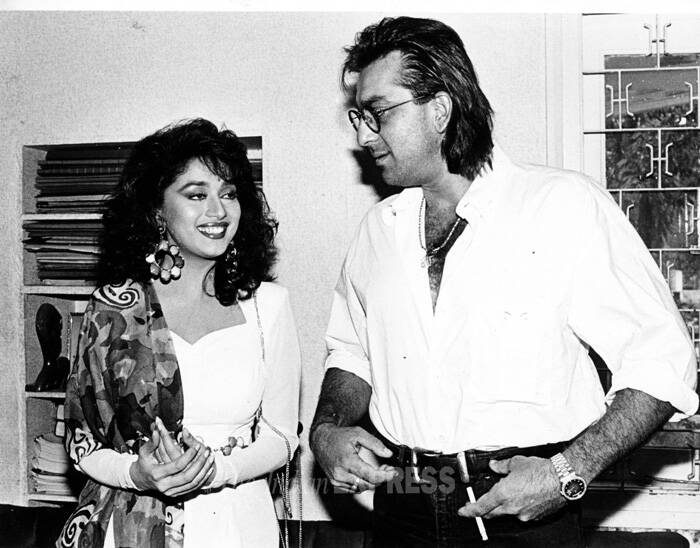 During her earlier years in Bollywood, Madhuri was rumoured to have an affair with Sanjay Dutt. The affair began sometime after Sanjay Dutt lost his wife Richa Sharma in 1987. However, both have maintained a long-drawn silence over their 'suspected' love affair which did not last for long. It is believed that Sanjay's arrest in connection with the 1993 Mumbai blasts took the relationship to its unfortunate end. (Source: Express archive photo)<br /><br />Ahead: Madhuri Dixit's life in Bollywood