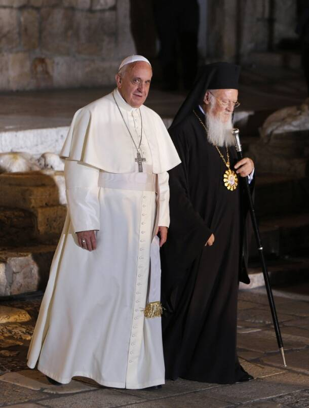 Pope, Orthodox patriarch in historic prayer for unity in Jerusalem
