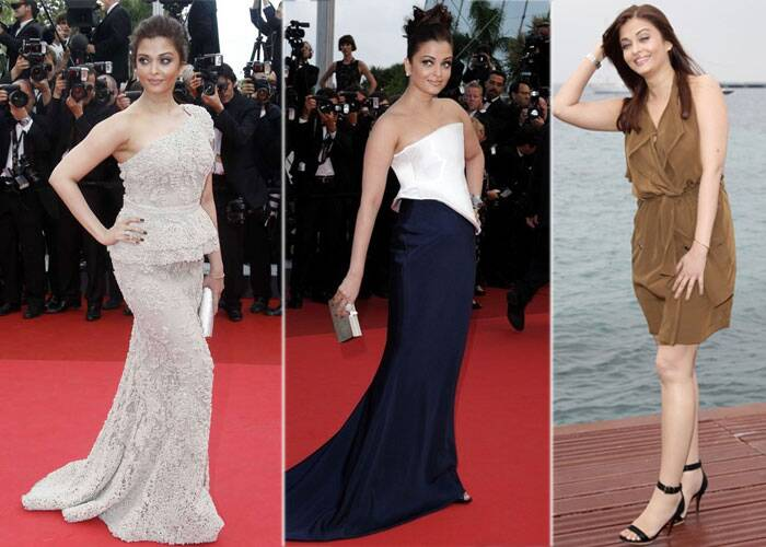 <b>Cannes 2011:</b> Aishwarya Rai was a stunner in another Elie Saab one shoulder embroidered gown.<br />Next she cut a fine figure in a geometric Armani Prive dress with smokey eyes.<br />In the afternoon that very day, when her ill fated Heroine was announced, she wore a brown. <br />Ash dropped out of Heroine that year due to her pregnancy.