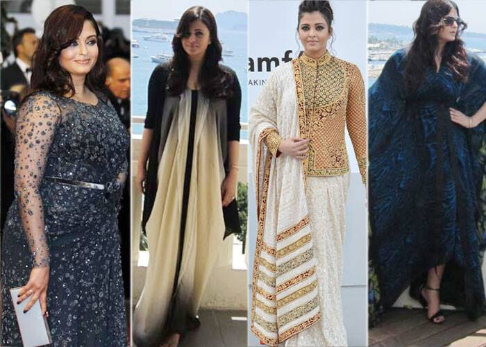 <b>Cannes 2012:</b> The new mom Aishwarya Rai got browny points for her choice of grey Elie Saab gown which was clinging to her plus size curves. 2012 was the year, when Ash was criticised for her weight gain post pregnancy.<br />Upon her arrival Aishwarya Rai Bachchan was first seen in an Angelo Katsapis maxidress. Then in a cream chikankari Abu Jani-Sandeep Khosla sari for the amfAR Cinema Against AIDS Gala with an embroidered jacket, which was a complete fashion disaster.<br />After the amFAR gala Ash was spotted in a Roberto Cavalli kaftan.
