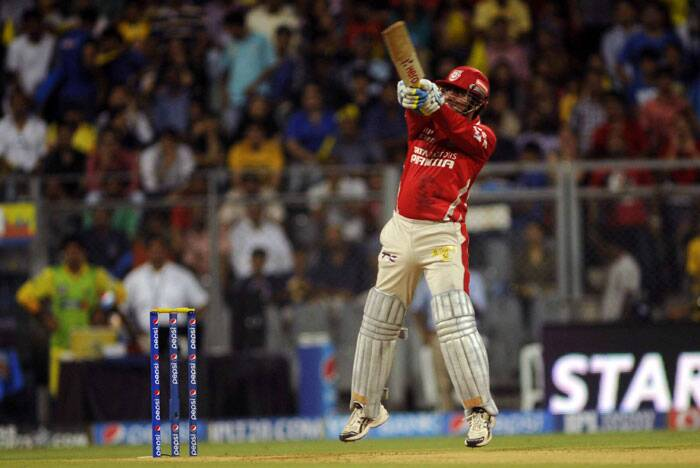 Playing in the second eliminator, KXIP were invited to bat first by CSK. Opener Virender Sehwag looked good right from the start as he and Manan Vohra added 110 runs from 64 balls for the first wicket. Most of the hitting was done by Sehwag as Vohra scored only 34 runs for the partnership. (Source: IE Photo by Kevin D'Souza)