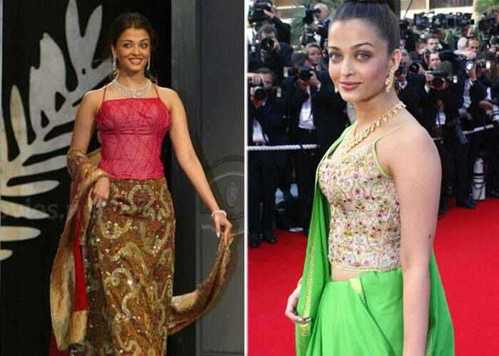 <b>Cannes 2003:</b> The very next year, the world's most beautiful lady was a disaster on the red carpet. Aishwarya, who is the first Indian actor to be a jury member at the Cannes, wore a neon green Neeta Lulla sari with her hair tied in a bun.<br />There were a series of badly chosen outfits at the Cannes that year. After her neon green sari, came a shimmering pink dress worn with diamonds and unkempt hair.