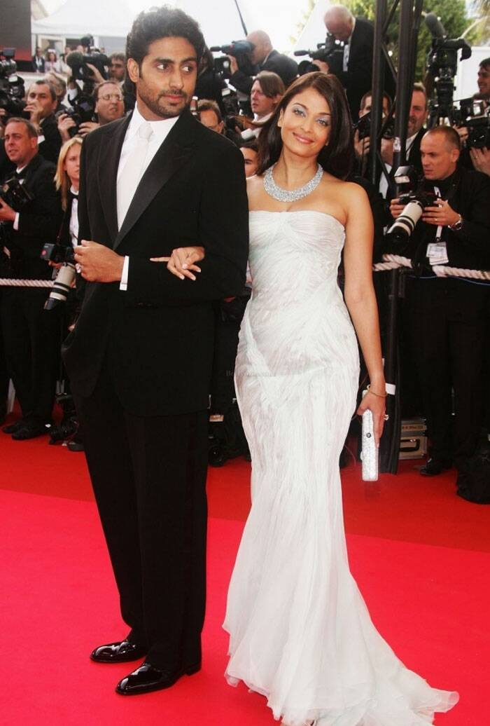 <b>Cannes 2007:</b> It was the year when she got married. And as expected walked the red carpet hand-in-hand with hubby Abhishek Bachchan. She was shining in her diamonds and white strapless gown.
