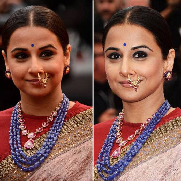 <b>At Young And Beautiful premiere:</b> Vidya wore her nude Sabyasachi sari with jewellery by Pankaj Surana. And what caught everyone's attention was her jadau nathni.