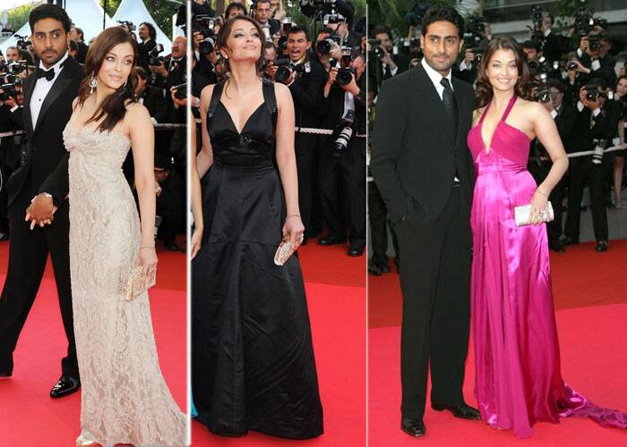 <b>Cannes 2008:</b> Aishwarya Rai showed off her petite figure in her golden gown and that famous smile. <br />The next day, she looked sensuous in her black gown.<br />Then came a bold fuschia gown for which Ash received rave reviews.