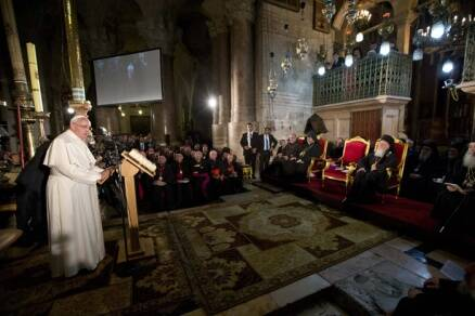 Pope, Orthodox patriarch in historic prayer for unity in Jerusalem