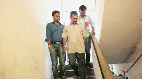 Arvind Kejriwal visits a poll booth on Monday.