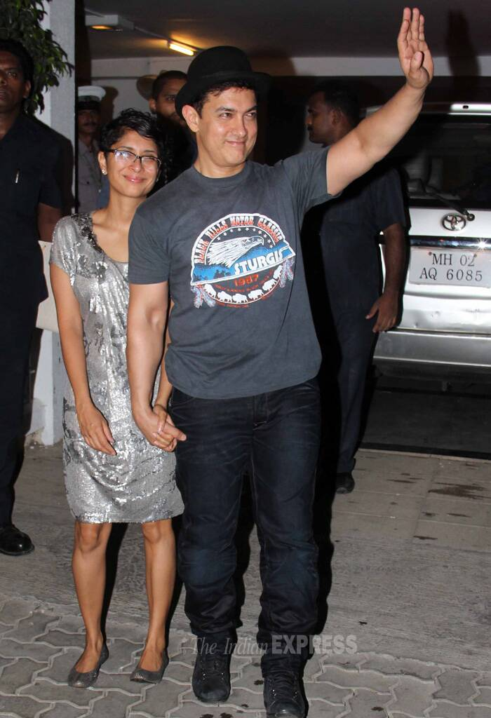 Looking sharp! Aamir Khan arrives in style with his filmmaker wife Kiran Rao sans their son Azad. (Source: Varinder Chawla)