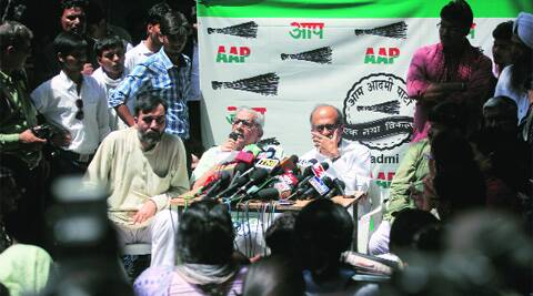 AAP leaders at a press conference on Thursday.  ( Source: Express photo by Oinam Anand)