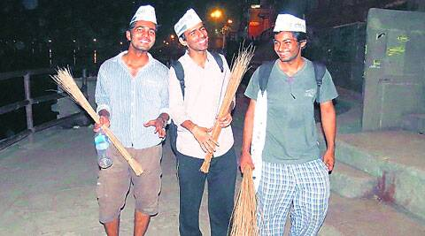IIT-Kharagpur students-turned- AAP volunteers at the ghats.